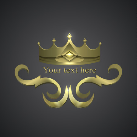 decorative shiny banner. crown logo Illustration