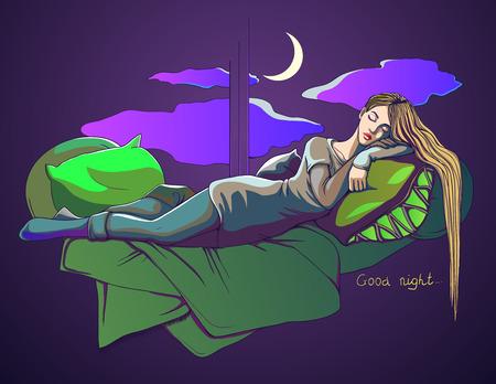 Sleeping girl. Postcard. good night