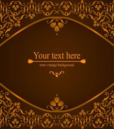 Elegant vintage card, flyer, invitation. template. Design background with ornate floral pattern. Vector illustration Vector