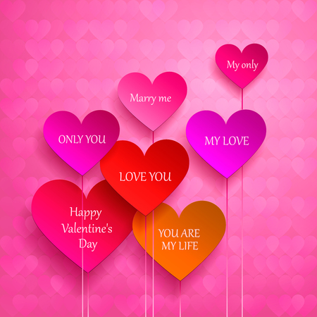 greeting card for Valentines Day. set of hearts. I love you, marry me. Vector illustration Vector