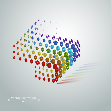 Abstract geometric cubic modern grunge rainbow concept on a white background Vector