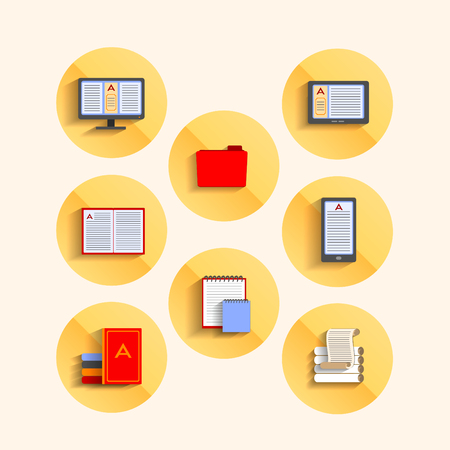 Set of icons in the flat style, Soup, gadgets for reading. vector illustration Vector