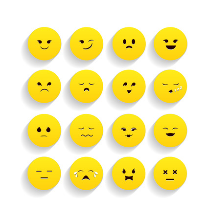set of yellow emoticons in flat style. vector illustration Vector