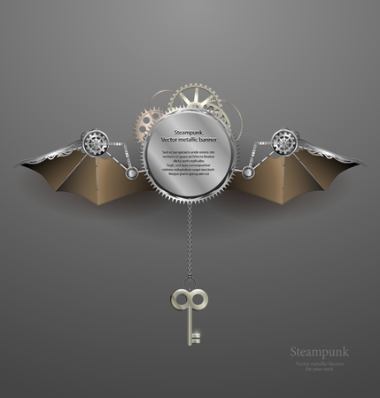 steampunk: industrial metallic banner with wings and key. steampunk style. vector illustration
