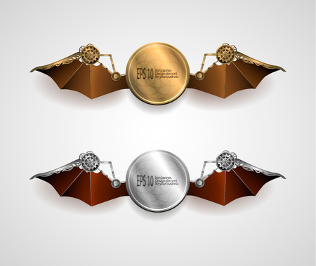 metallic banners: set of industrial metallic banners with wings. steampunk style. vector illustration Illustration