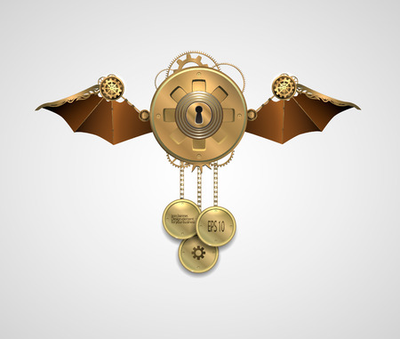 locket: metallic banner locket.  with wings, a keyhole and key. steampunk vector illustration