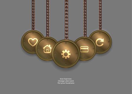 medaglione: metallico bandiera medaglione. steampunk. steampunk illustrazione vettoriale