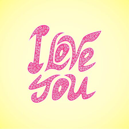 Vector  letters \\\l ove you\\\ text doodles. valentine Vector