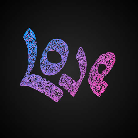 Vector  letters \\\love\\\ text doodles. valentine Vector