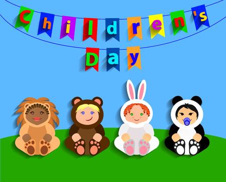 childrens day: Funny children in animal costumes. International Childrens Day. Vector Illustration