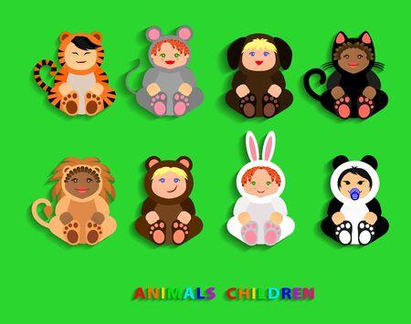 Funny children in animal costumes. Vector Illustration illustration