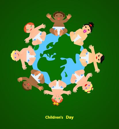 Funny children are on the planet. Vector Illustration illustration