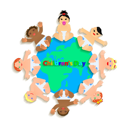 Funny children are on the planet. Vector Illustration Vector