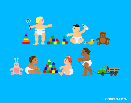 african solidarity: Funny little flat children play in the garden. Vector illustration