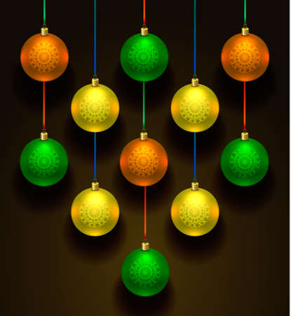 blue ball: Colorful christmas balls. Set of realistic decorations.