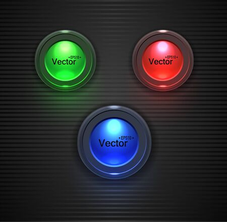 glossy buttons: Colorful  Glossy buttons, lightbulb for your site.  Vettoriali
