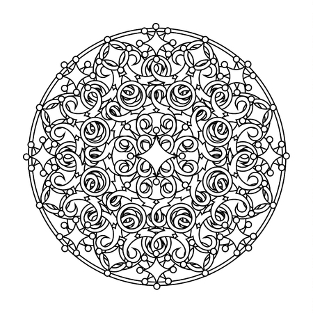 psyche: contour, monochrome Mandala. ethnic, religious design element with a circular pattern. Anti-paint for adults. Vector illustration
