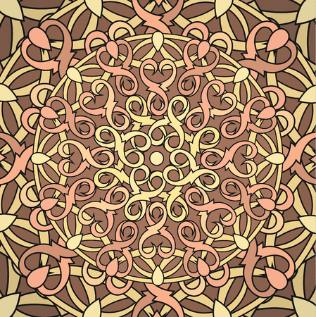 decorative element: Сolour decorative background with a circular pattern. Mandala. Vector illustration