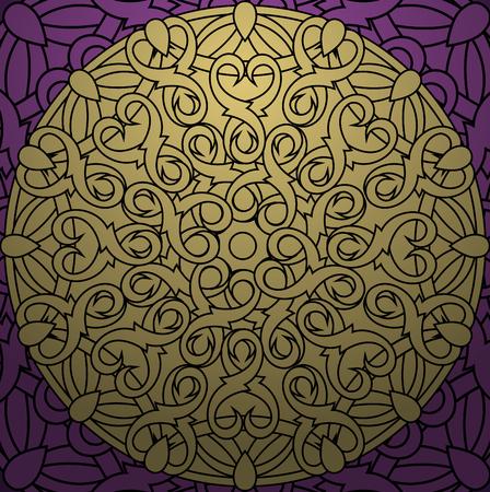 gold circle: Сolour decorative design element with a circular pattern. Mandala. Vector illustration Illustration