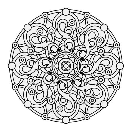 blanco: contorno, monocromático Mandala. étnica elemento, religiosa diseño con un patrón circular. Anti-pintura para adultos. Ilustración vectorial