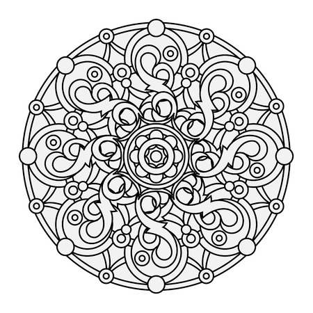 buddhism: contour, monochrome Mandala. ethnic, religious design element with a circular pattern. Anti-paint for adults. Vector illustration