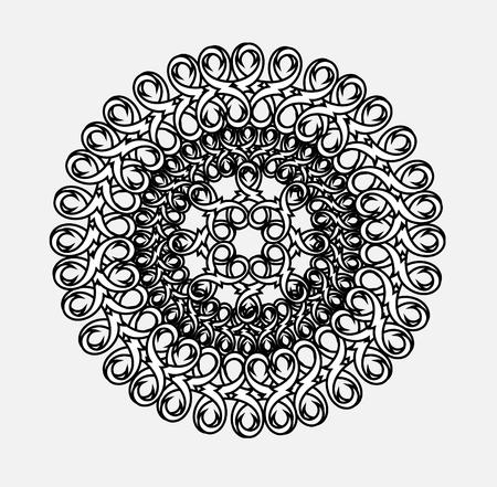 simbolos religiosos: contorno, monocromático Mandala. étnica elemento, religiosa diseño con un patrón circular. Anti-pintura para adultos. Ilustración vectorial