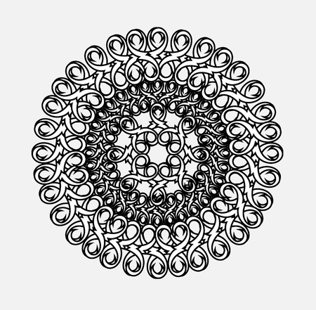 religious backgrounds: contour, monochrome Mandala. ethnic, religious design element with a circular pattern. Anti-paint for adults. Vector illustration