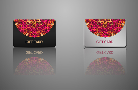 greeting card vector: template Gift card, credit card, business card, an invitation, a document with circular patterns. Mandala. Vector illustration Illustration