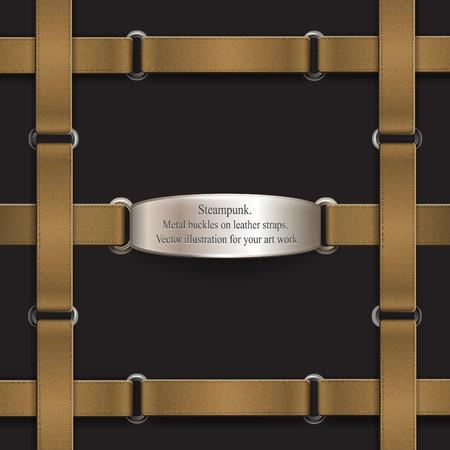 belts: Frame made of leather belts. steampunk Vector illustration Illustration