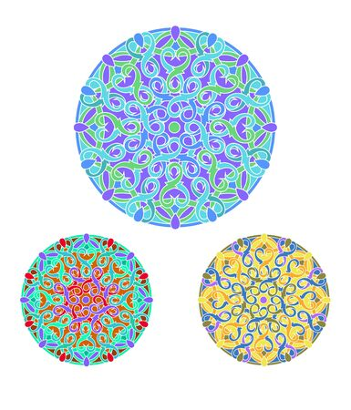 set of %u0421olour decorative design element with a circular pattern. Mandala.  Illustration