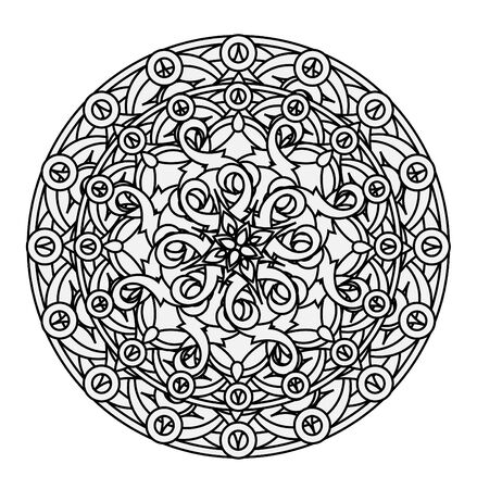 decorative element: contour, monochrome Mandala. ethnic, religious design element with a circular pattern. Anti-paint for adults. Vector illustration