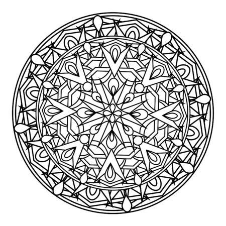 cult: Monochrome decorative design element with a circular pattern. Mandala.