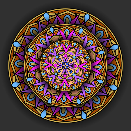 cult: %u0421olour decorative design element with a circular pattern. Mandala.