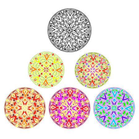 Monochrome decorative design element with a circular pattern. Mandala