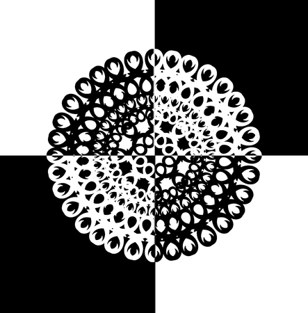 psyche: contour, monochrome Mandala. ethnic, religious design element with a circular pattern. Anti-paint for adults.