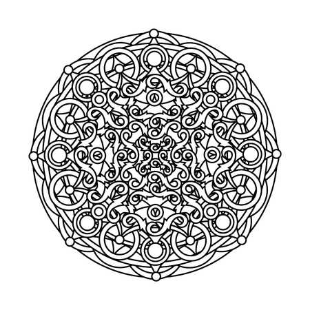 abstract design elements: contour, monochrome Mandala. ethnic, religious design element with a circular pattern. Anti-paint for adults.