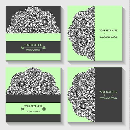 Set templates business cards and invitations with circular patterns of mandalas. Corporate style for your documents. Vector illustration Illustration