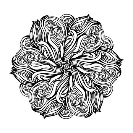 contorno, Mandala. elemento de diseño religiosa. tatuaje. ilustración vectorial