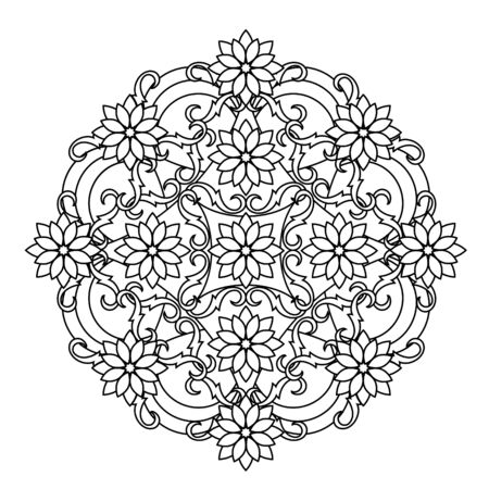 cult: contour, Mandala. ethnic, religious design element with a circular pattern. tattoo Illustration