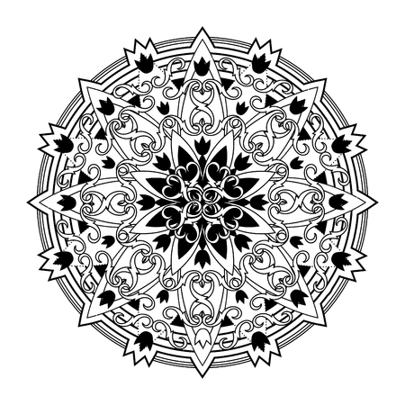 psyche: Mandala. ethnic, religious design element with a circular pattern. tattoo Illustration