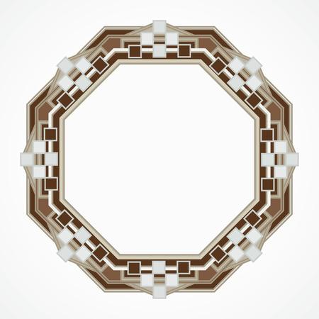 octahedron: handmaded octahedron frame from mosaic. Vector illustration