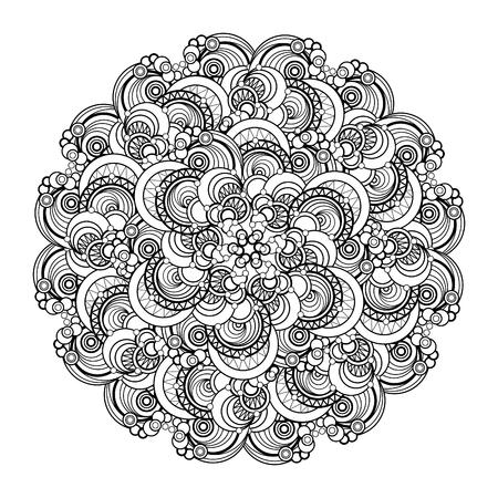 cult: contour, monochrome Mandala. ethnic, religious design element. Anti-paint for adults.