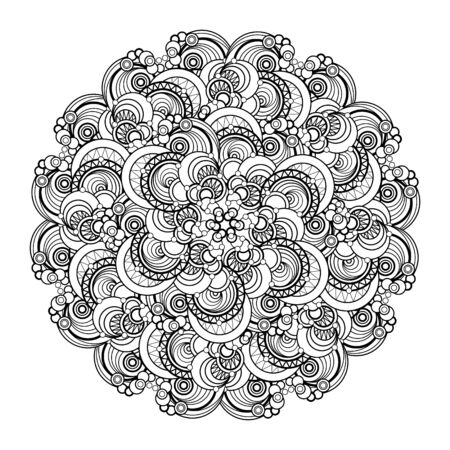 india culture: Designed contour, monochrome Mandala. ethnic, religious design element. Anti-paint for adults. Vector illustration