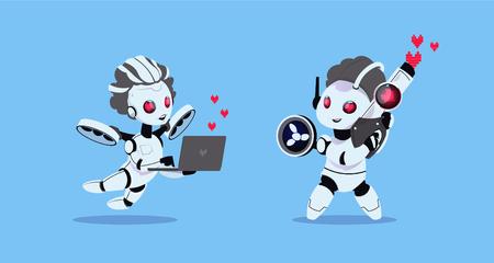 Casal de chatbots engraçados. Cartão postal para o dia do Santo Valentim. Ilustração vetorial Foto de archivo - 94825219