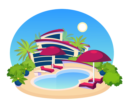 Swimming Pool Big Modern Villa Flat Design Vector Illustration Ilustração