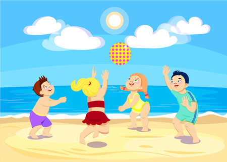 cartoon children playing volleyball on the beach. Vector illustration
