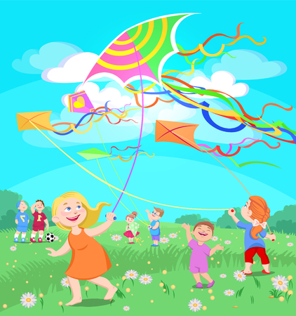 doodle children play with kites on a clearing, summer vector illustration Illustration