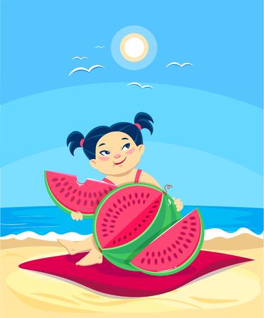 cartoon asian girl eating watermelon on the beach. Summer vector illustration