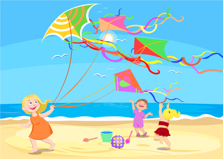 cartoon of little children playing with kites on the beach. Vector summer illustration