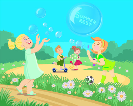Cartoon children playing on the street. summer vacation vector illustration.